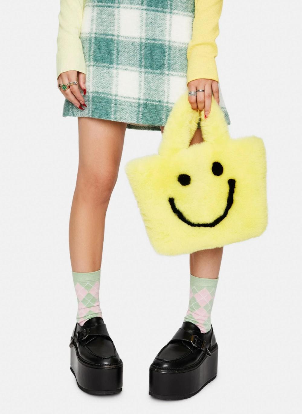 YELLOW SMILEY FACE FAUX FUR BAG