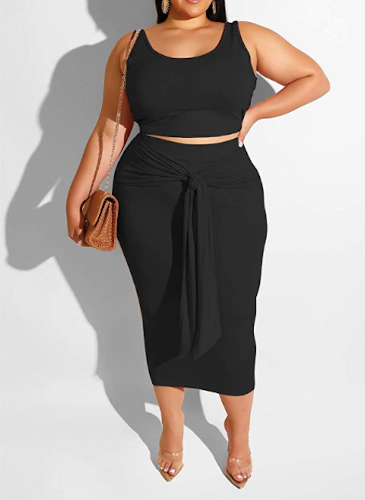 Iymoo Plus-Size Two-Piece Midi Dress