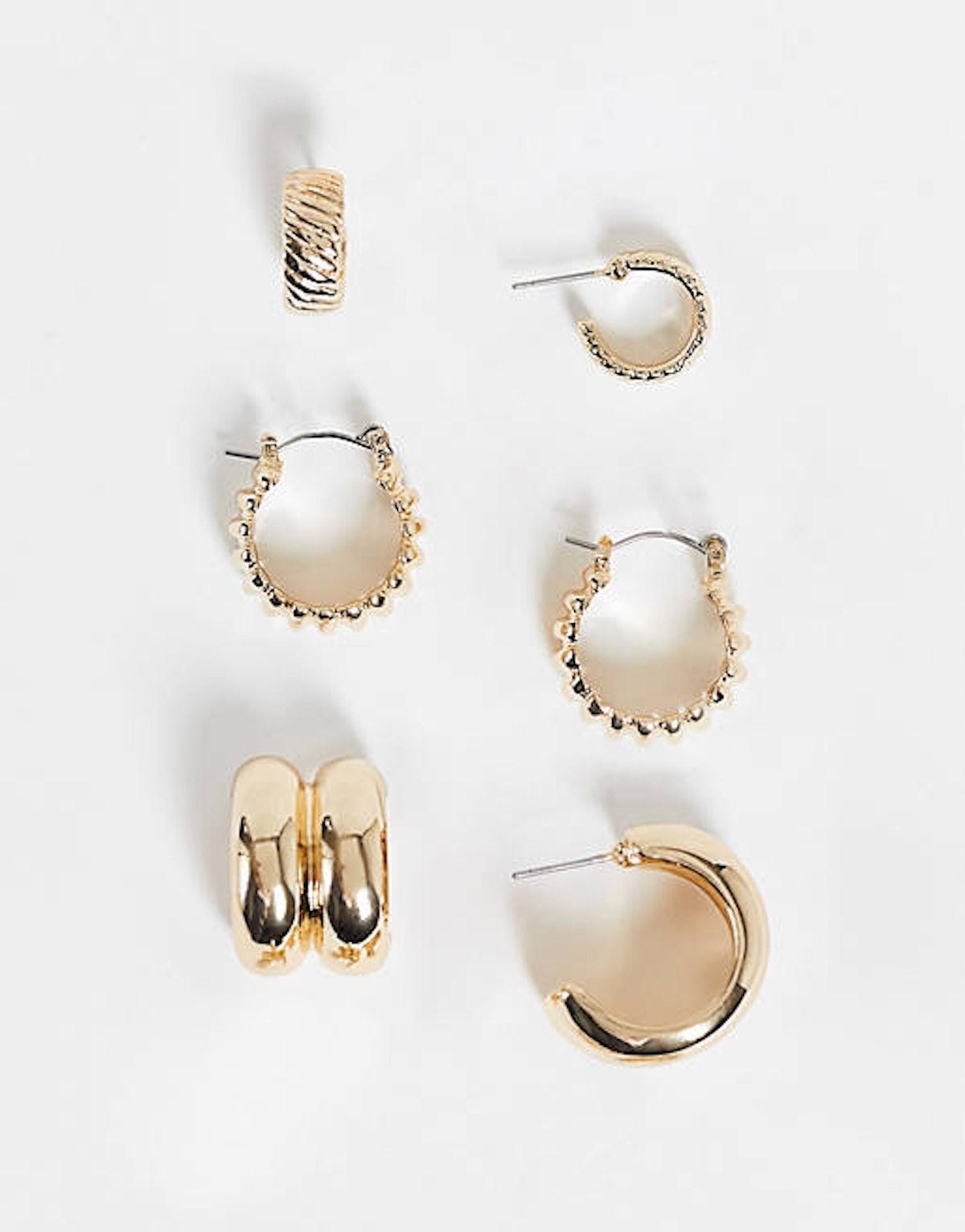 Gold 3 Hoop Earrings
