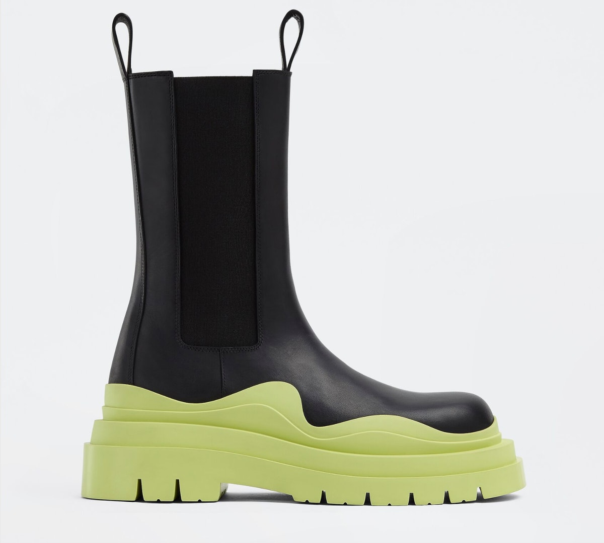 Bottega Veneta's black Chelsea boots with yellow tire inspired soles.