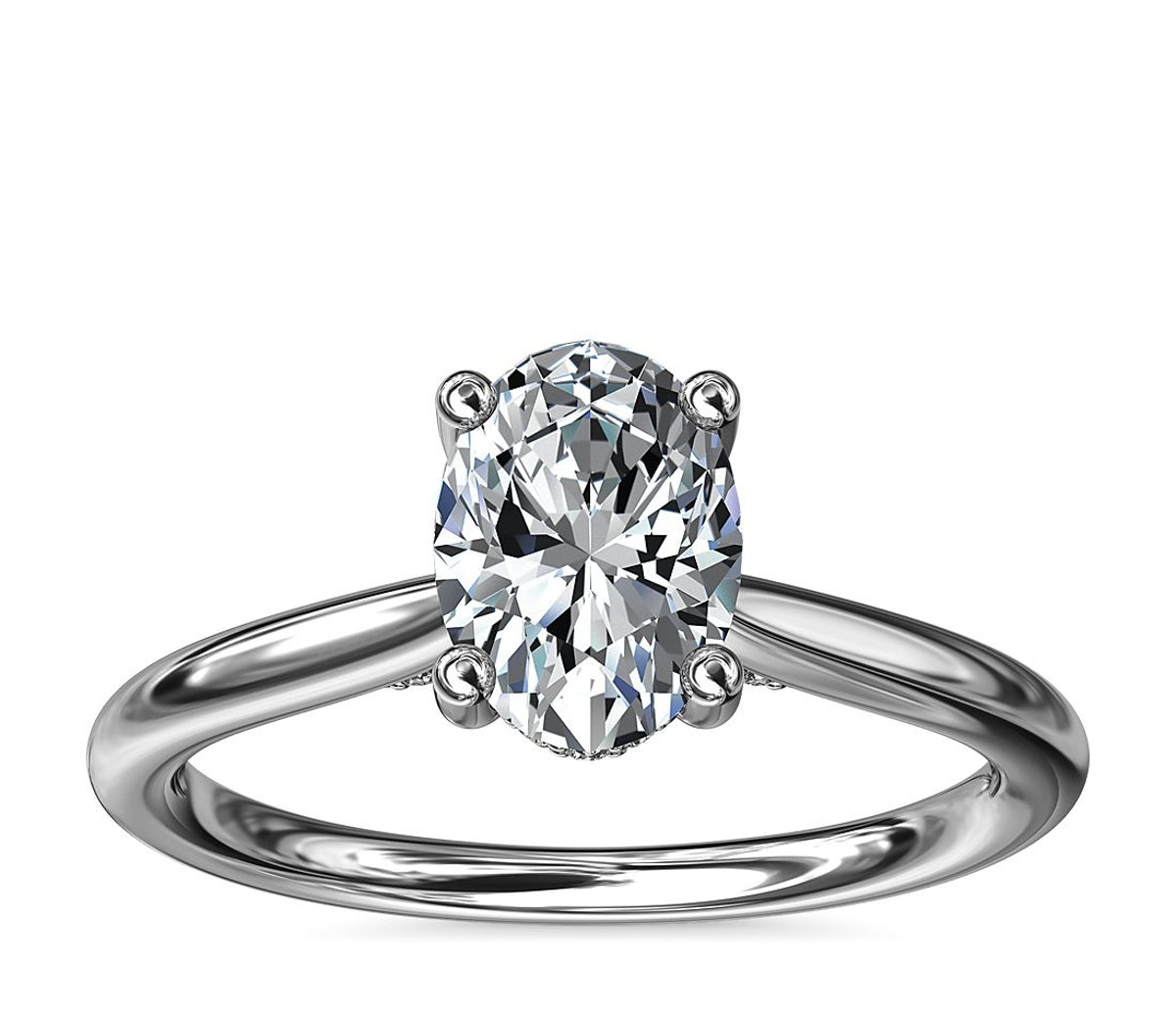 Petite Hidden Halo Solitaire Plus Diamond Engagement Ring