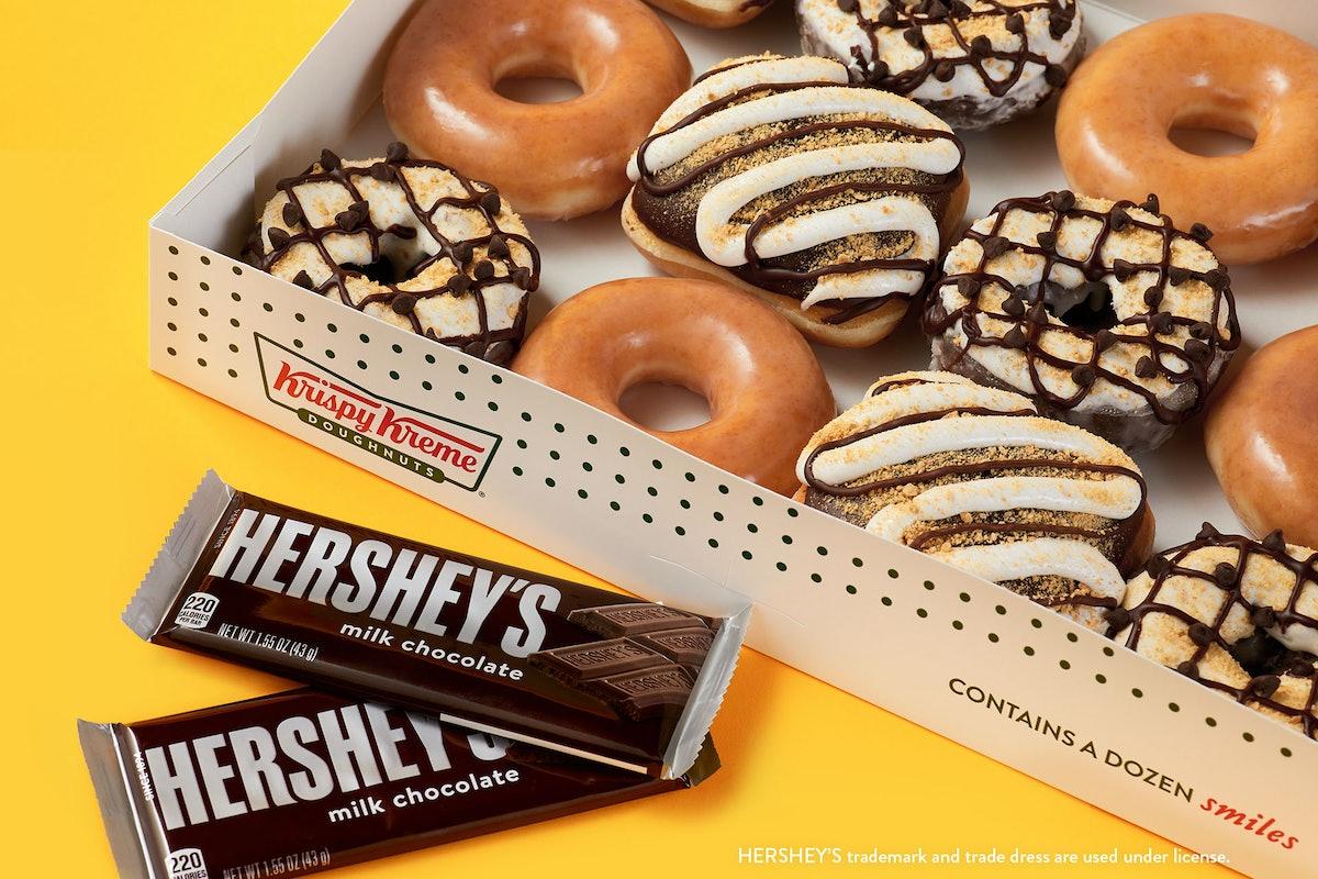 Krispy Kreme's new Hershey's S'mores Doughnuts are chocolatey dreams.