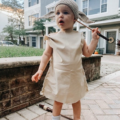 """Toddler in crochet hat and costume shirt/dress to look like Dobby from """"Harry Potter"""""""