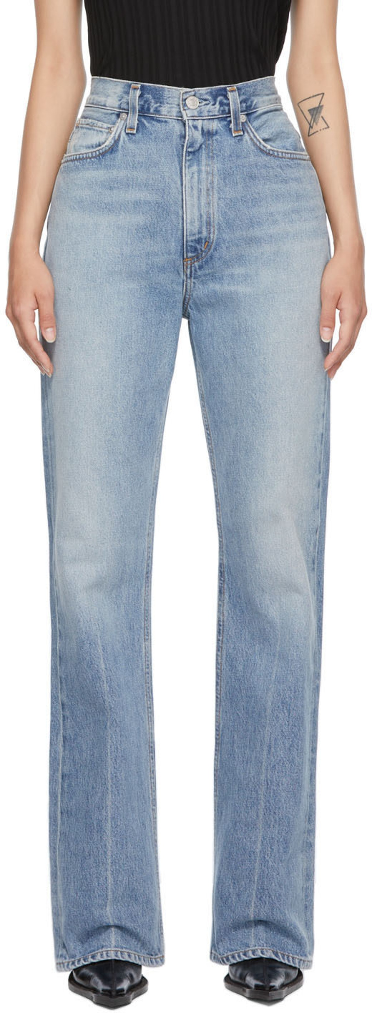 Blue Vintage High-Rise Flare Jeans from AGOLDE, available to shop on SSENSE.