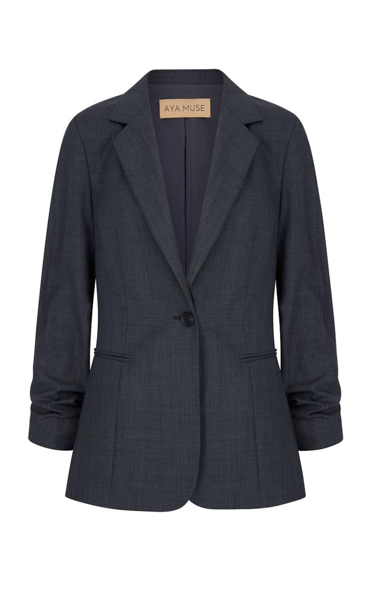 Baojin ruched woven blazer from Aya Muse, available on Moda Operandi.