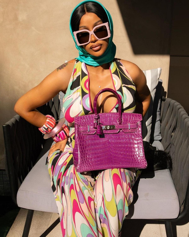 Cardi B in an Emilio Pucci outfit.