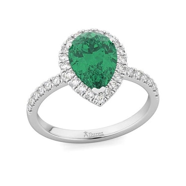 Pear Cut Halo Emerald And Diamond Engagement Ring