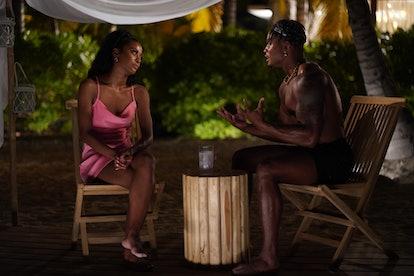 Nakia Renee and OG Jared Motley in 'FBoy Island' Season 1 via HBO Max's press site