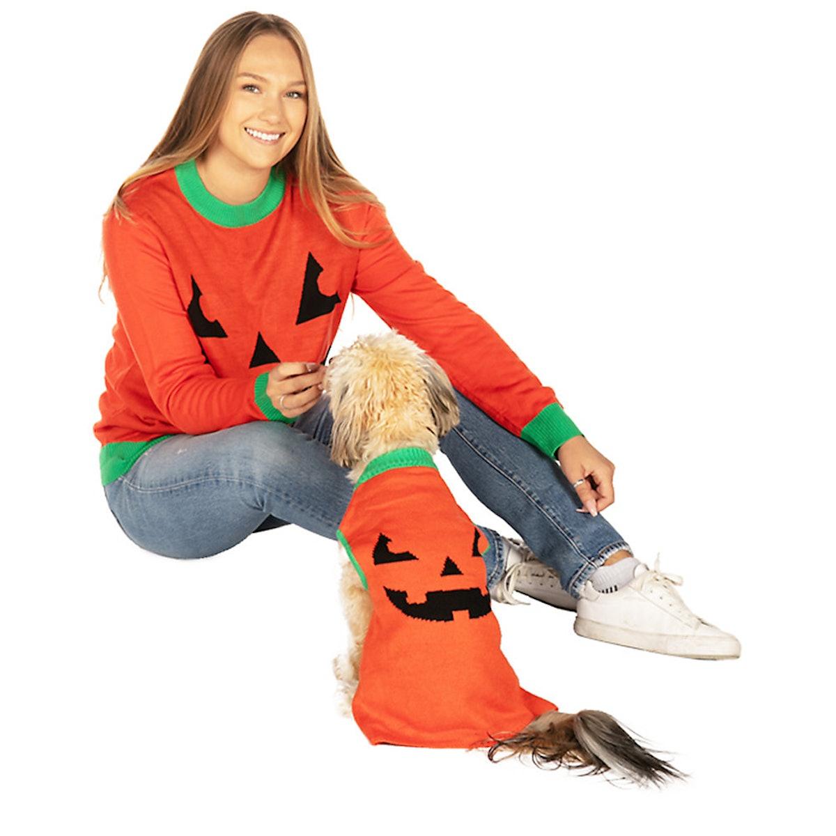 Tipsy Elves Halloween Pumpkin Sweater For Pups & People