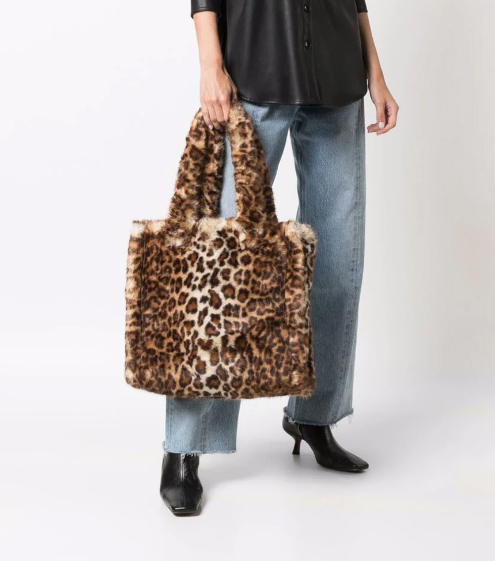 leopard-print faux fur tote bag