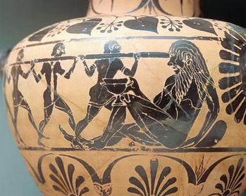 Pottery from the fifth century B.C. depicting the blinding of a Cyclops.