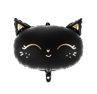 Statement balloon; black cat face with gold details