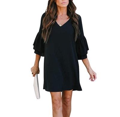 BELONGSCI V-Neck Bell Sleeve Shift Dress