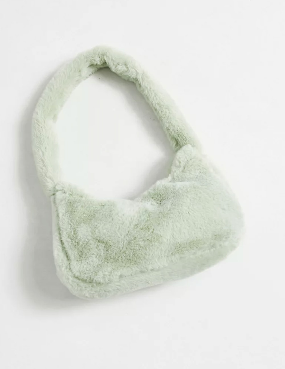 90s shoulder bag in plush sage green faux fur