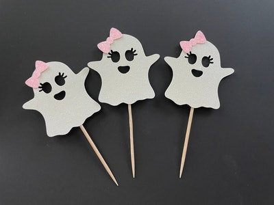 Cupcake toppers; ghosts with pink bows on toothpicks
