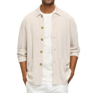 PJ PAUL JONES Casual Linen Shirt Jacket
