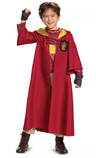 Boy wearing a red Harry Potter Quidditch costume