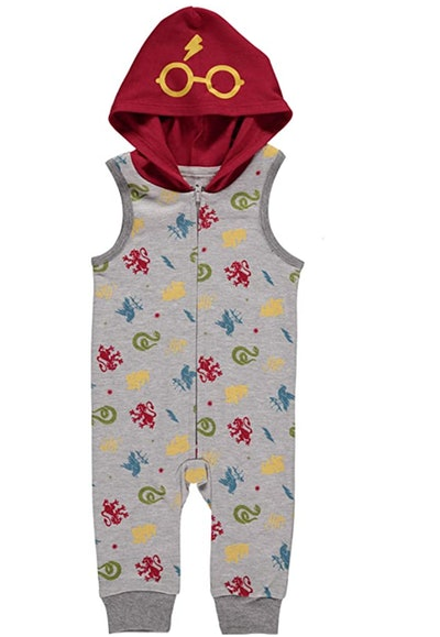 Hooded baby romper with Harry Potter symbols all over it and glasses screen printed onto the hood