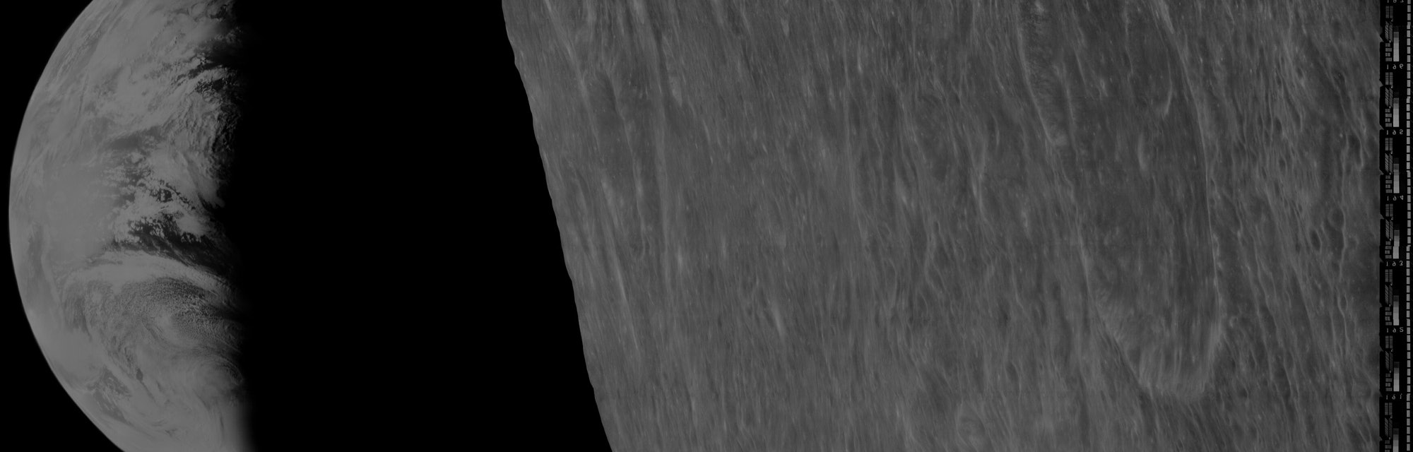 The 1966 Earthrise photographed by the Lunar Orbiter 1 spacecraft as reprocessed by the Lunar Orbite...