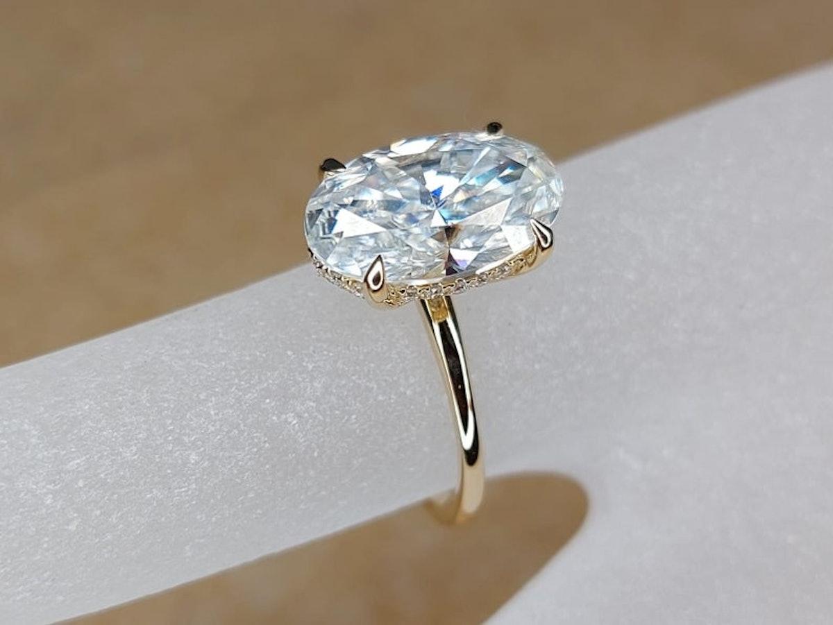 5-Carat Ice Oval Cut Moissanite Diamond, Hidden Halo Engagement Ring