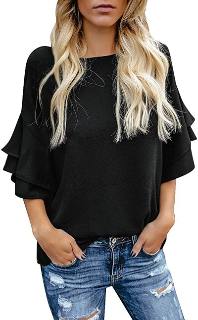 luvamia Tiered Bell Sleeve Top
