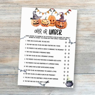 """Close up of Halloween themed baby shower game """"over or under"""""""