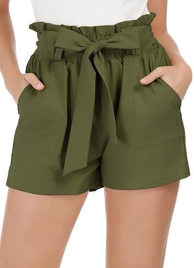 GRACE KARIN Bowknot Tie Waist Summer Casual Shorts