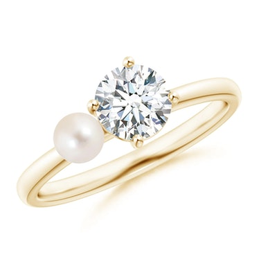 Freshwater Pearl & Tilted Round Diamond 2-Stone Grande Engagement Ring