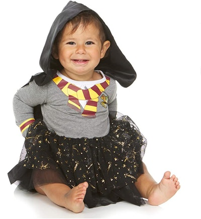 Baby wearing tutu dress made to look like Harry Potter