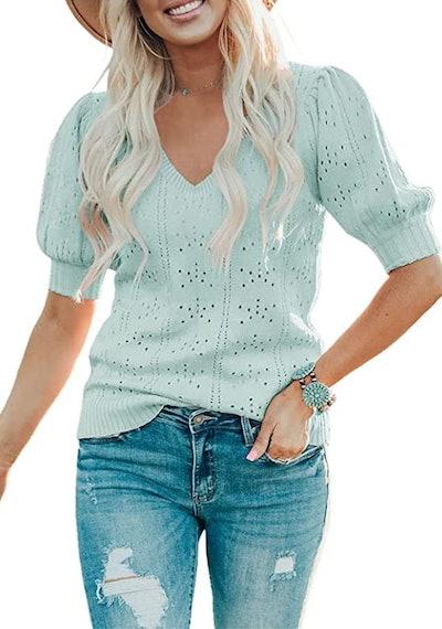 Saodimallsu Lightweight Pointelle Knit Pullover