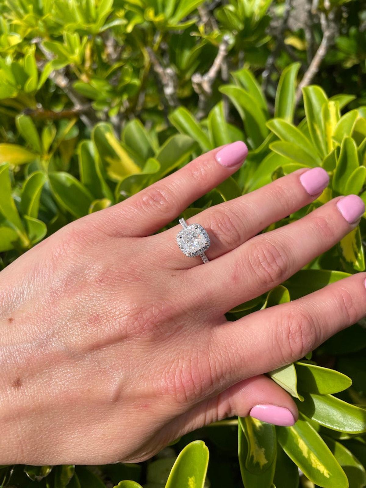 2.80-Carat Cushion Cut Natural Diamond Engagement Ring In 14K White Gold