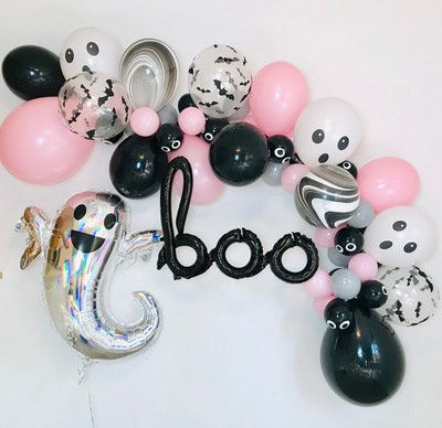 Balloon garland; black, silver, and pink colors with ghosts
