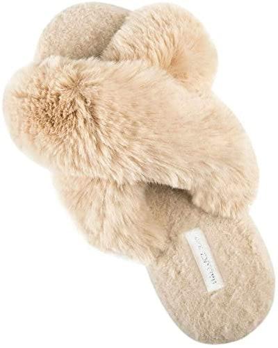 HALLUCI Cross Band Fleece Slippers