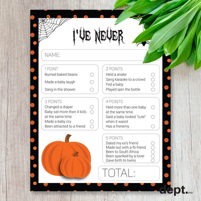 """Close up of Halloween-themed """"I've Never"""" card for baby shower game"""