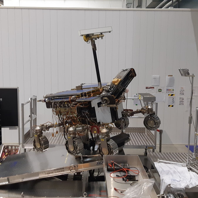 A test version of the Rosalind Franklin rover in Turin, Italy.