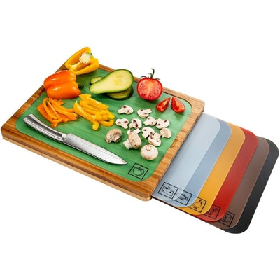 Seville Classics Bamboo Cutting Board and  Color-Coded Cutting Mats Set