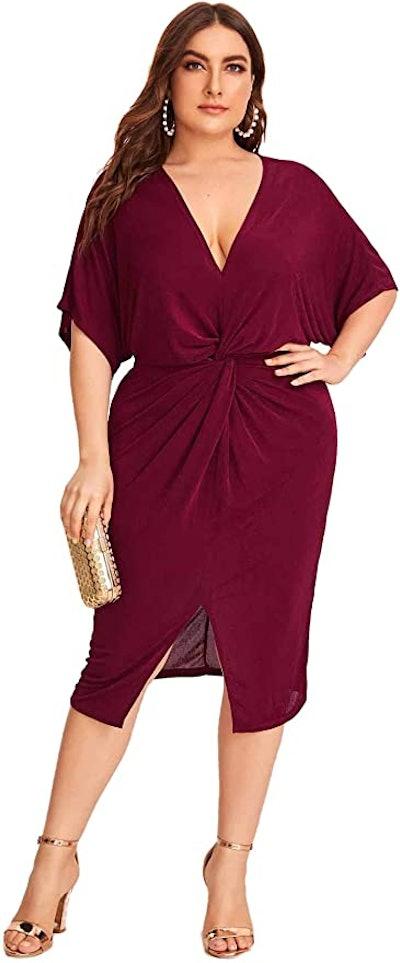 Floerns Midi Twist-Front Dress