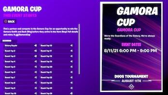fortnite gamora cup start time