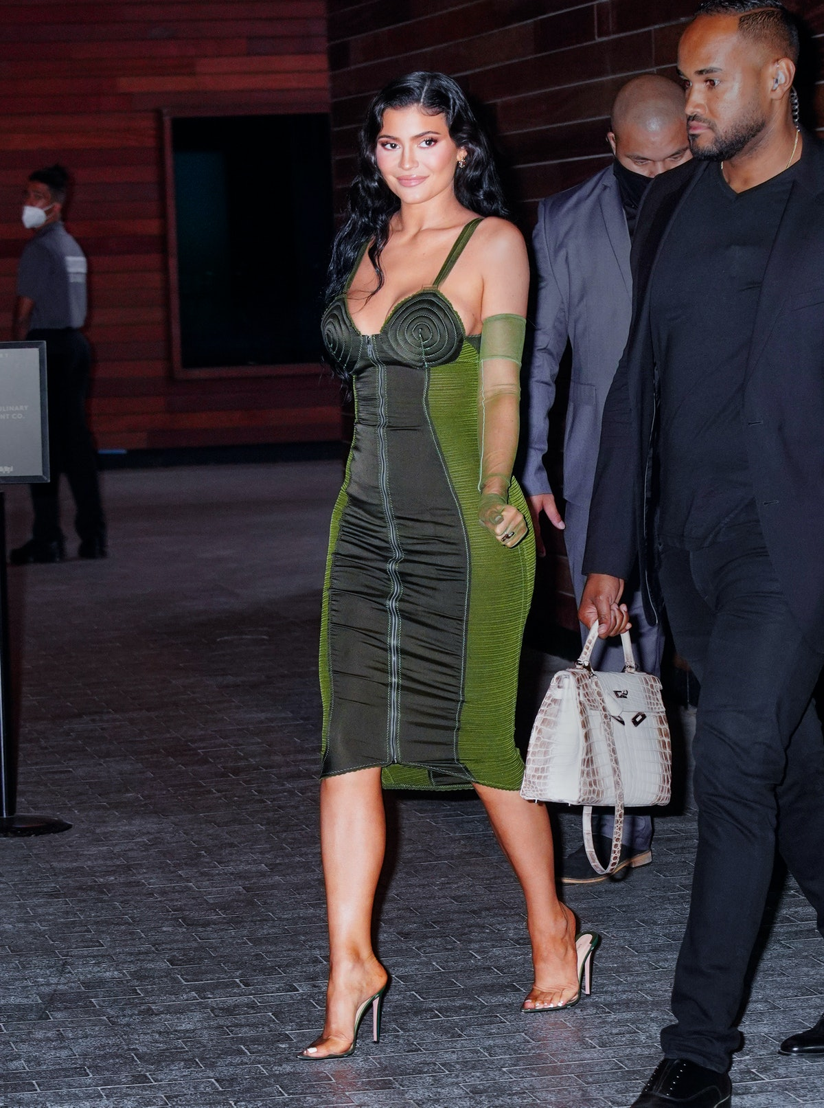 Kylie Jenner in green Gaultier.