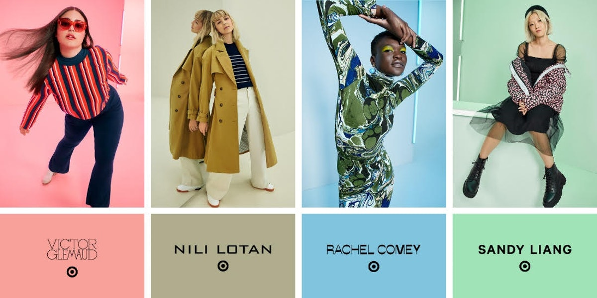 A sneak peek of Target's Fall Designer Collection with images of one look from each of the four majo...