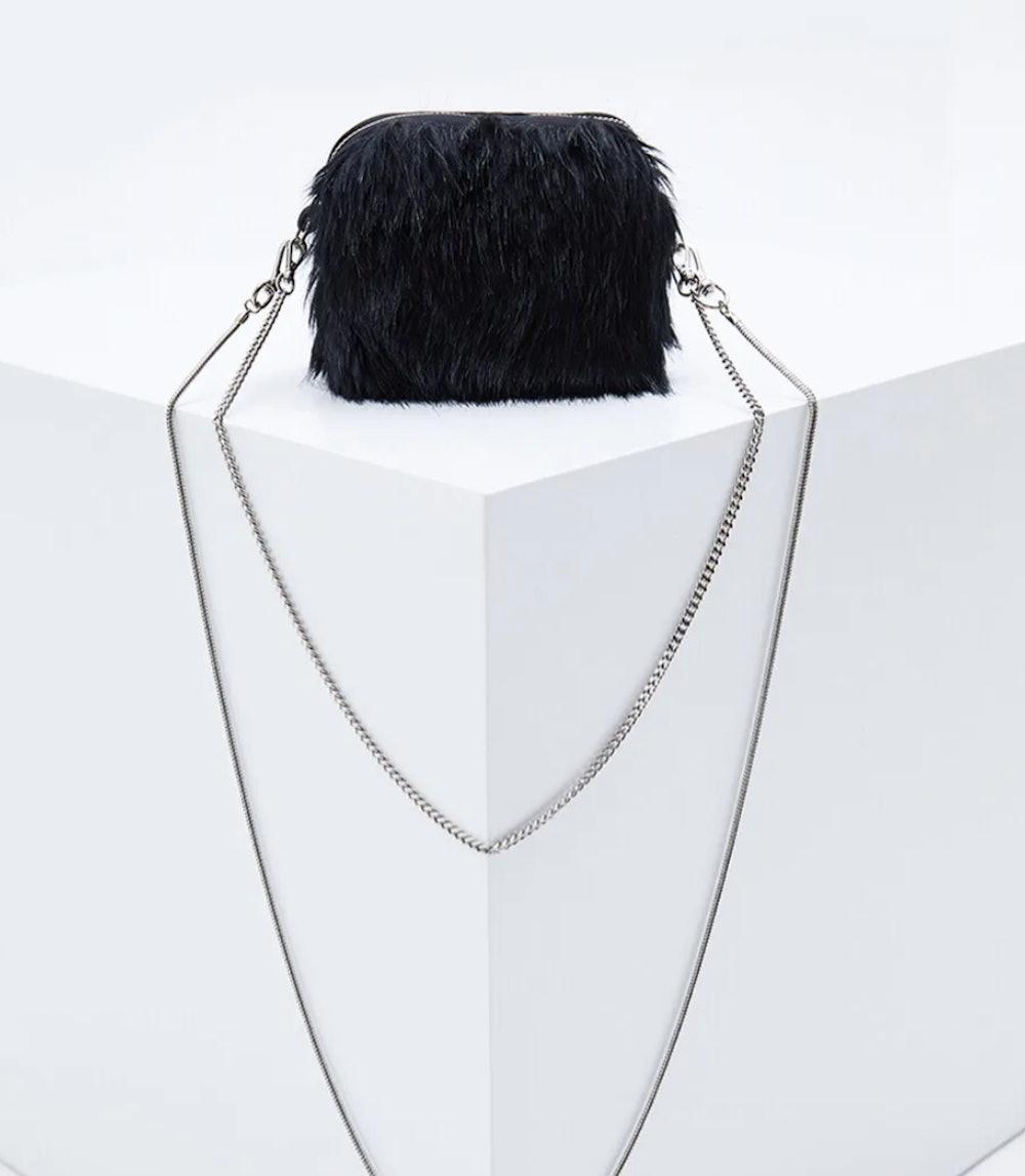 Mini Faux Fur Chain Bag