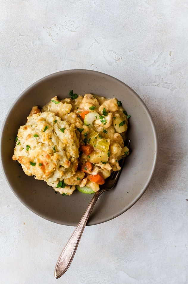 Slow cooker chicken pot pie is an easy school night recipe.