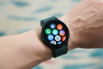 Samsung Galaxy Watch 4 Wear OS software designed by Google with One UI skin showing smartwatch apps