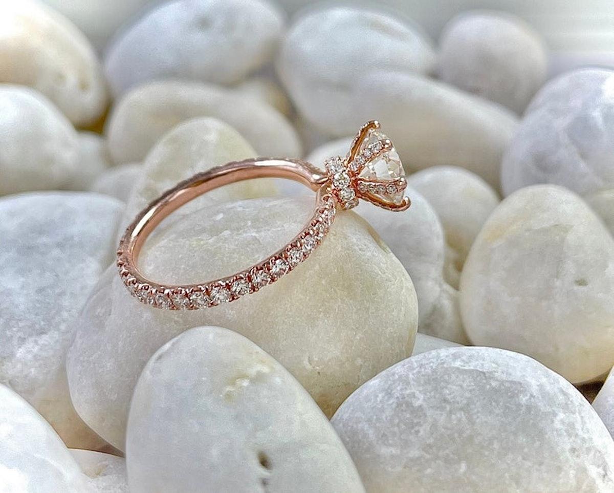 1.8 Carat Moissanite Hidden Halo Diamond Engagement Ring