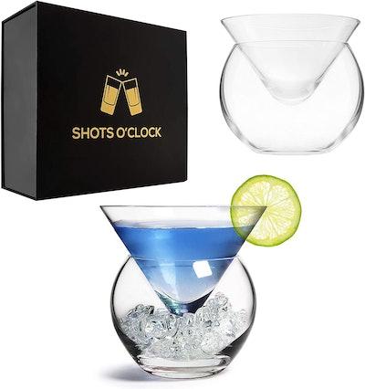 LEMONSODA Stemless Martini Glasses with Chiller (Set of 2)