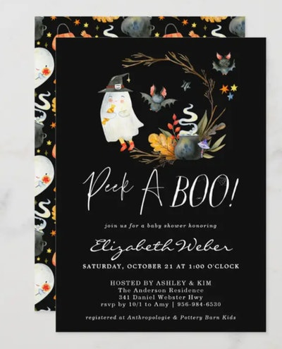 """Close up of baby shower invite: Halloween theme with ghost that says """"peek-a-boo"""""""