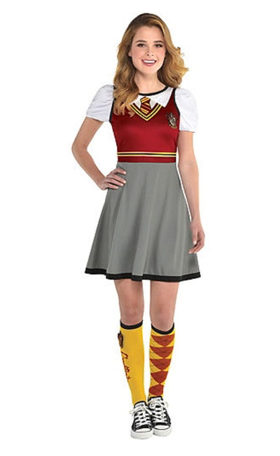 Woman in Harry Potter themed dress and knee high socks