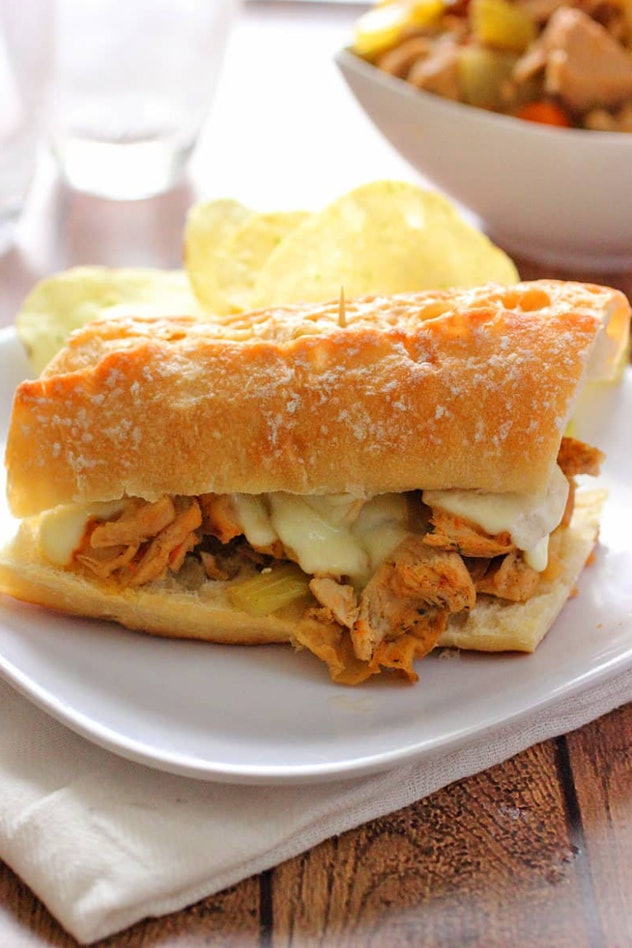 Slow cooker turkey French dip sandwiches are an easy school night dinner.