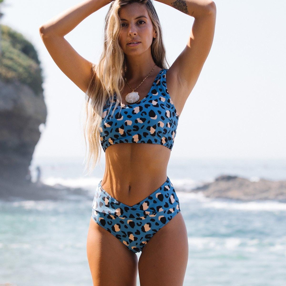 Leopard Print High Waisted Bikini Set