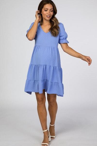 blue swiss dot maternity mini dress with puff sleeves